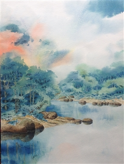 """Lake in Blue Watercolor on Paper 24"""" x 18"""""""