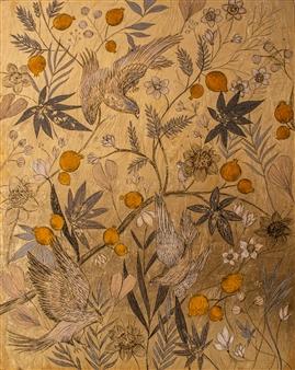 """A Passeggio Acrylic & Gold Leaf on Canvas 39.5"""" x 31.5"""""""