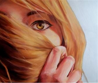 "Yellow Eye Acrylic & Oil on Canvas 24"" x 28"""