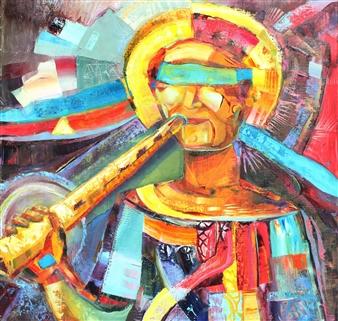 """The Horns are Silent Acrylic & Oil on Canvas 35"""" x 35"""""""