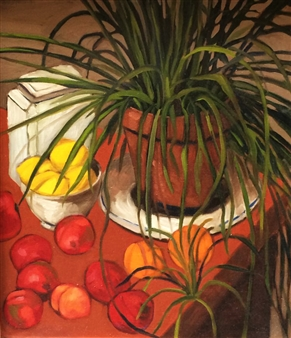 """Still Life With Spider Plant Oil on Canvas 24"""" x 30"""""""