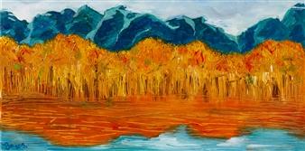 """Autumn Season Oil on Canvas 14.5"""" x 29.5"""""""