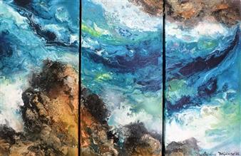 "Earth and Sea in an Azur Farandole, triptych Acrylic on Canvas 40"" x 60"""