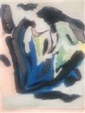 Finger Painting 2 Blue On Black