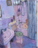 Blue Curtain and Mauve Bathroom