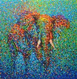 Polychromatic Elephant (framed work)