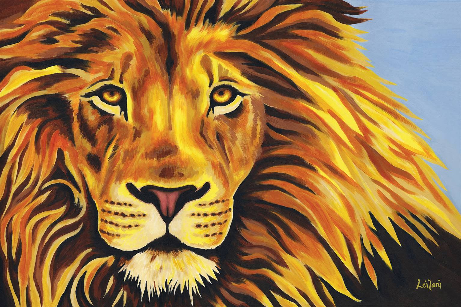Colorful Lion Head Painting